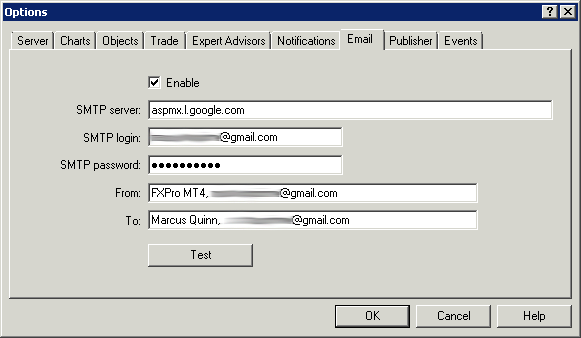 Screenshot of MetaTrader Email Settings by Analytic Trading